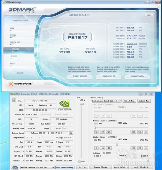 默认频率竟达850MHz 铭鑫高频版GTX 460详测
